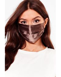 Nasty Gal Pleat Me In The Middle Fashion Face Mask - Brown