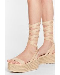 Nasty Gal One Step Ahead Lace-up Platform Sandals - Natural