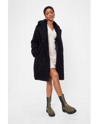 "Nasty Gal ""miles Fur Hour Faux Fur Longline Coat"" - Black"