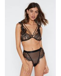 Nasty Gal God Is A Woman Strappy Lace Bralette And Knickers Set - Black