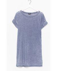Nasty Gal Dressing Gown T-Shirt Délavée À L'Acide Je Suis Plutôt Assidue - Bleu