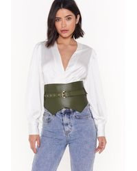 Nasty Gal Of Corset Size Matters Faux Leather Buckle Belt - Green