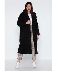 Nasty Gal Longline Faux Shearling Winter Coat - Black