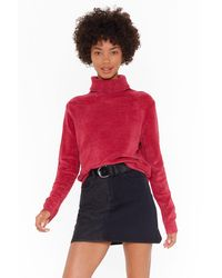 Nasty Gal Chenille In The Air Turtleneck Sweater - Pink