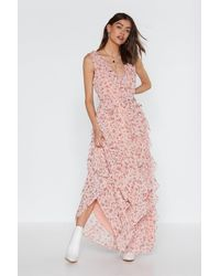 """Nasty Gal """"grow The Distance Floral Ruffle Dress"""" - Pink"""