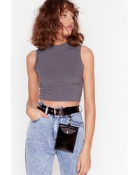 """Nasty Gal """"see Through Me Lucite Pouch Belt"""" - Black"""