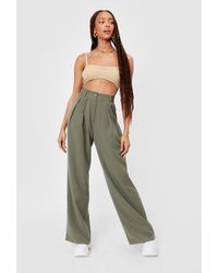 Nasty Gal Pleated High Waisted Wide Leg Trousers - Green