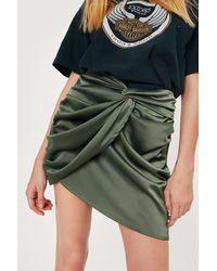 Nasty Gal Petite Knot Front Mini Skirt - Green