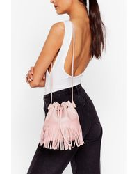 Nasty Gal Want Fringe On It Bucket Bag - Pink