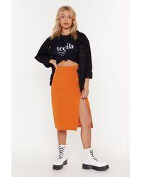 "Nasty Gal ""thrilled To Slits Button-down Midi Skirt"" - Orange"