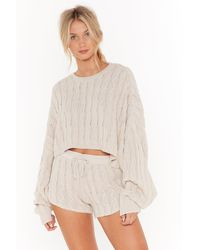 """Nasty Gal """"got Cable Knit Sweater And Shorts Lounge Set"""" - Natural"""
