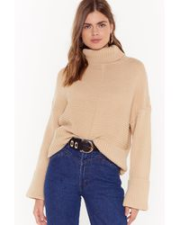 Nasty Gal Turtleneck Chunky Cable Knit Sweater - Blue