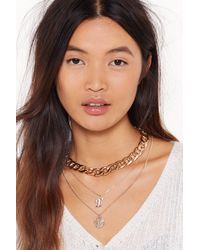 """Nasty Gal """"initial Impressions E Chain Layered Necklace"""" - Metallic"""