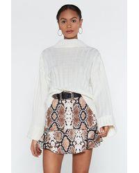 """Nasty Gal """"snake Print Micro Skirt"""" - Brown"""