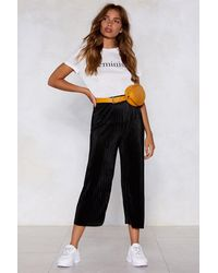 "Nasty Gal ""cropped Plissé Culotte With High-waist"" - Black"