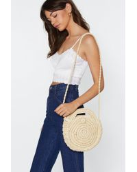 """Nasty Gal """"want Totally Rounded Straw Crossbody Bag"""" - Natural"""