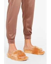 Nasty Gal Faux Fur Slippers - Natural