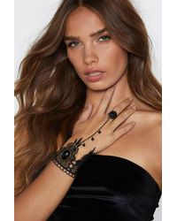 "Nasty Gal ""take My Hand Crochet Harness Bracelet"" - Black"