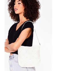 Nasty Gal Want Woven Shoulder Bag - White