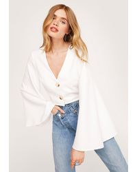 Nasty Gal Button Through Wide Sleeve Cropped Blouse - White