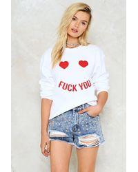 Nasty Gal Fuck You Sweatshirt - White