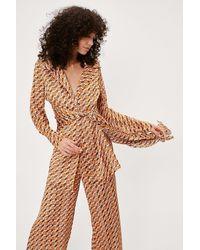 Nasty Gal Haut portefeuille ceinturé style blazer à imprimé rétro en satin - Multicolore
