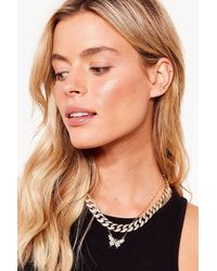 Nasty Gal You're So Fly Layered Chain Necklace - Metallic
