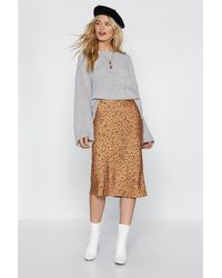 "Nasty Gal ""spotty Check Satin Midi Skirt"" - Metallic"