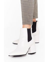Nasty Gal Sneak Off Faux Leather Chelsea Boots - White
