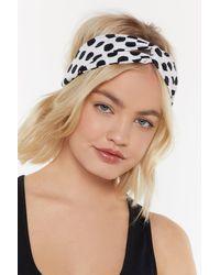 Nasty Gal Polka Dot Woven Headband - White