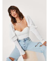 Nasty Gal Corset Puff Sleeve Crop Top - White