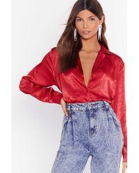 Nasty Gal Don't Slick Down Oversized Satin Shirt - Red