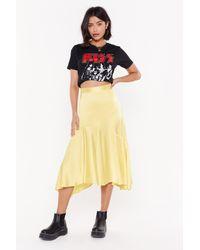 """Nasty Gal """"worried Slick Satin Midi Skirt"""" - Yellow"""