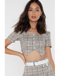"Nasty Gal ""check Yourself Crop Top"" - Gray"