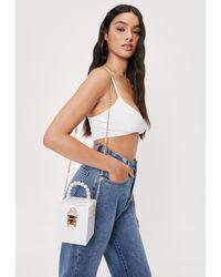 Nasty Gal Pearl Inspired Handle Crossbody Box Bag - White