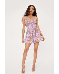 Nasty Gal Petite Floral Ruched Cupped Sleeveless Romper - Purple