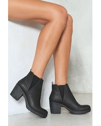 """Nasty Gal """"a Little Less Conversation Faux Leather Boot"""" - Black"""