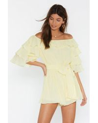 Nasty Gal Move In For The Frill Off-the-shoulder Playsuit - Yellow