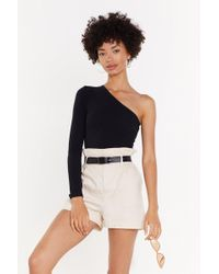 """Nasty Gal - """"she's The One Shoulder Ribbed Bodysuit"""" - Lyst"""