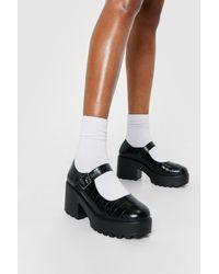 Nasty Gal Faux Leather Croc Mary Janes - Black