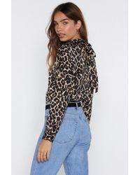 Nasty Gal - Coming Back Tie Mine Leopard Bodysuit - Lyst