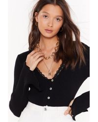 """Nasty Gal """"ribbed Button-down Cardigan With V-neckline"""" - Black"""