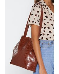 Nasty Gal Faux Leather Croc Tote And Clutch Bag Set - Brown