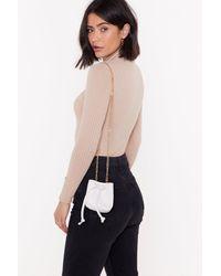 "Nasty Gal ""faux Croc Chain Strap Mini Bucket Bag"" - White"