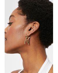 Nasty Gal Abstract Star Hoop Earrings - Metallic