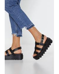 """Nasty Gal """"stand Your Ground Platform Cleated Sandals"""" - Black"""