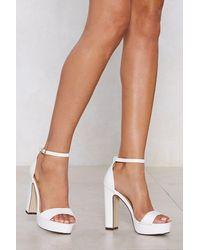 "Nasty Gal ""platform Heel With Skinny Block Heels And Platform Sole"" - White"