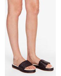 Nasty Gal Woven Strap Platform Sandals - Black