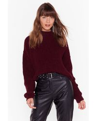 """Nasty Gal """"just Wing Knit Crew Neck Sweater"""" - Red"""