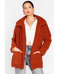 Nasty Gal Teddy Faux Fur Coat - Red